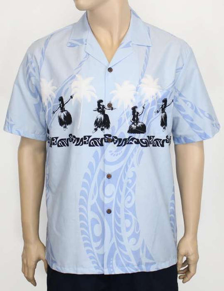 Blue Men's Hula Girl Hawaiian Shirt