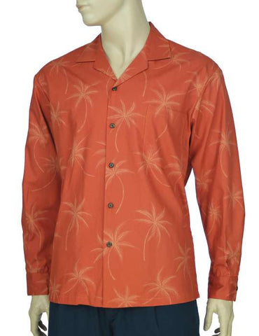 Hawaiian Long Sleeves Shirt Beach Palms