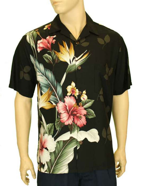Rayon Hawaiian Shirt - Birds of Paradise Hibiscus