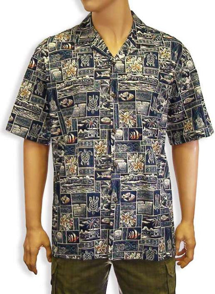 Cotton Navy Shirt - Aiea Design Men's