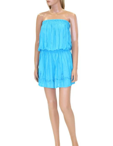 One Piece Blue Dress - Beach Cover-up Strapless - Makana