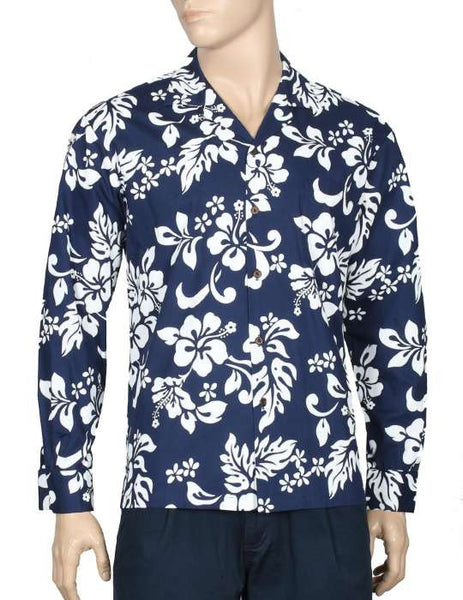 Island Hibiscus Long Sleeve Aloha Shirt Navy
