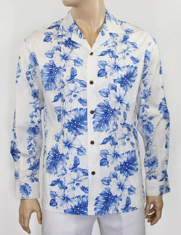 Long Sleeve White Royal Blue Tropical Shirt - Haku Laape