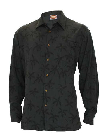 Black Rayon Long Sleeves Tropical Palms Aloha Shirt - Hawaiian Gala Design
