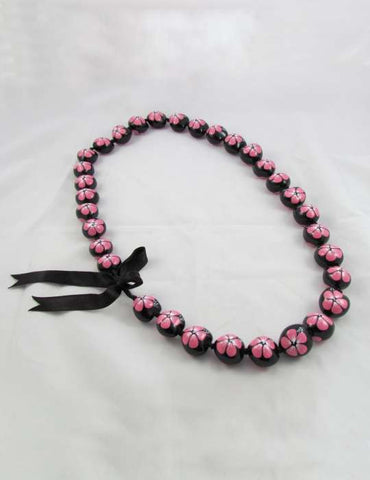 Hand Painted Pink Flower Polished Kukui Nut Candlenut Lei