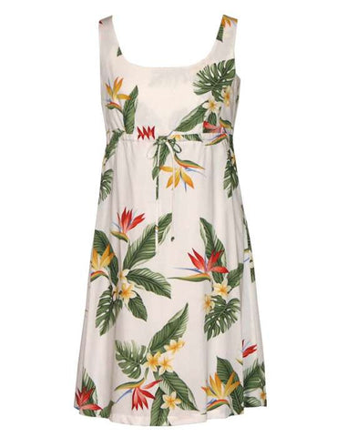 Adjustable Front Tie White Dress - Birds of Paradise