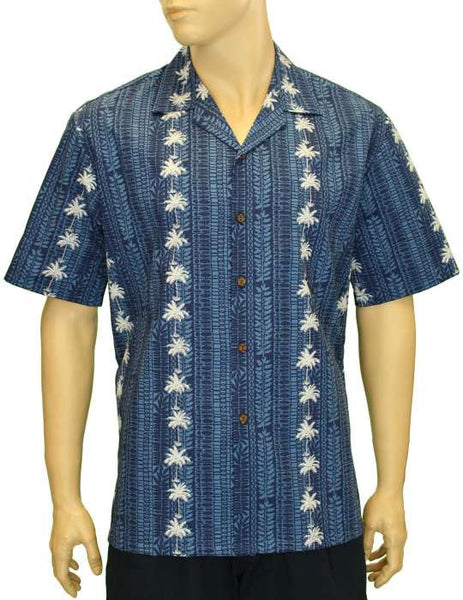 Hawaiian Navy Shirt - Palms and Laurels Panel