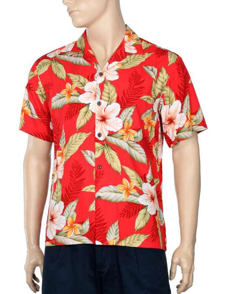 Men Hawaiian Red Shirt - Ula Ula Hibiscus