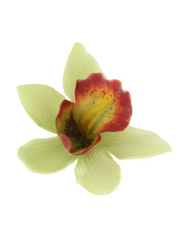 Green Orchid Flower Hawaiian Hair Clip