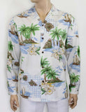 White Hawaiian Islands Long Sleeve Cotton Shirt
