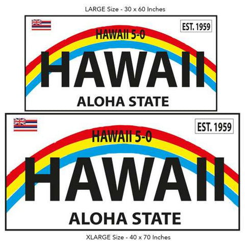 1959 Hawaii Aloha State License Plate Beach Towel on White