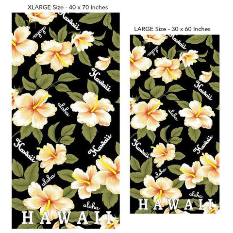 Aloha Hawaii Beach Towel on Black - Yellow Hibiscus