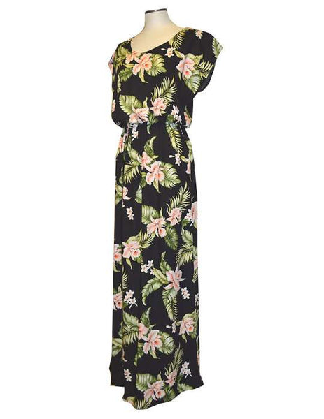 Full Length Rayon Cap Sleeves Dress - Island Orchids