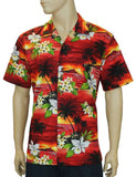 Red Sunset Island Cotton - Hawaiian Shirts