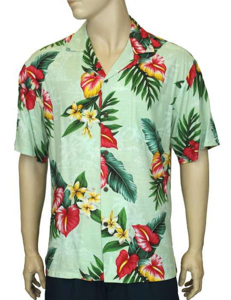 Rayon Aloha Shirt - Anthurium Galore