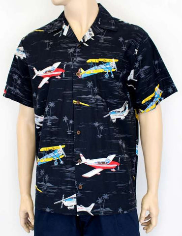 Airplanes and Palms Aloha Shirt