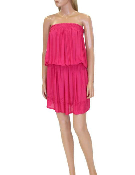One Piece Hot Pink Dress Beach Cover-up Strapless - Makana