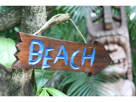 """Beach"" Driftwood Sign 12"" - Pool Decor"