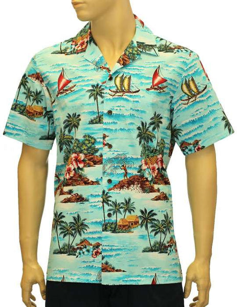 Cotton Fishing Voyage - Hawaii Shirt Print