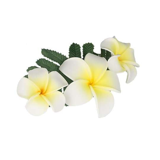 3 Plumerias Flower Cluster Hair Clip Natural