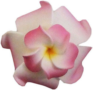 Small Double White Pink Plumeria Hair Clip
