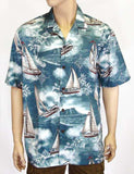 Tropical Sailing Cotton Slate Shirt - Sailboats