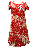 Short Rayon Dress with Sleeves Tahitian Garden