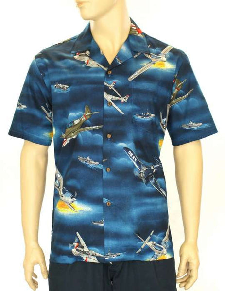 Cotton Aloha Shirt - War Airplanes and Carriers