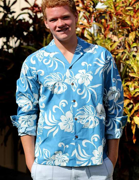 Tropical Resort Hawaiian Long Sleeves Blue Shirt