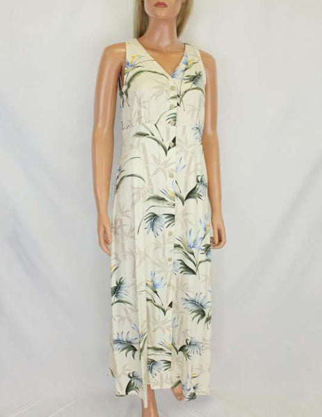Herringbone Cream Long Hawaiian Dress - Bamboo Paradise