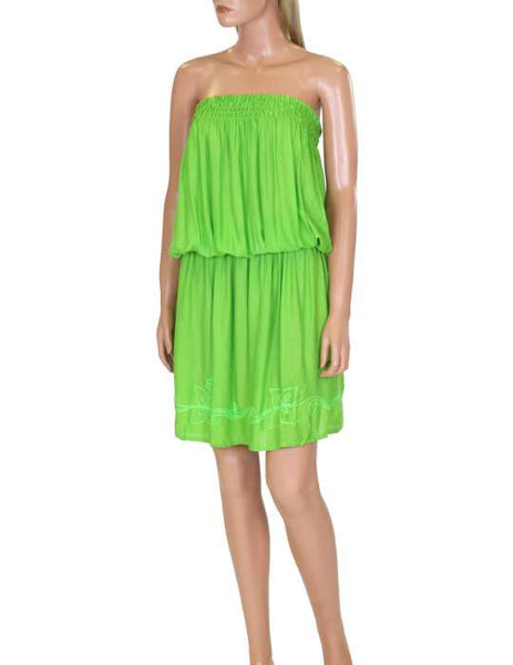 One Piece  Green Dress - Beach Cover-up Strapless - Makana