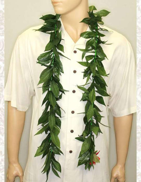 Maile Silk Ti Leaf Lei Open-Ended 60 Inch