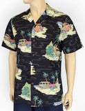 Hawaiian Shirt - Black Old Woody's Classic Surfing Cars
