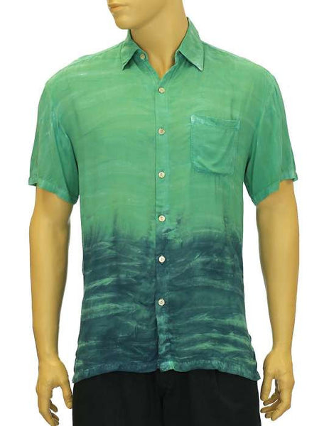 Rayon Amazon Green Shirt - Tie Dye -  Tropical Shadow Kolo