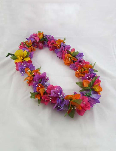 Bougainvillea Multicolor Silk Aloha Lei
