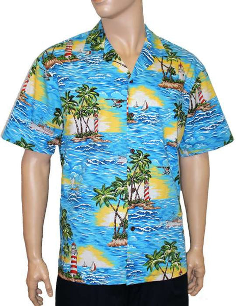Tropical Aloha Shirt - Diamond Head Lighthouse