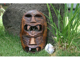 "Fijan Tiki Mask with 2 Deities - 8"" Evil Hunter - Polynesian Art"
