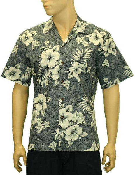 Gray Hibiscus Tropical Design Men Shirt