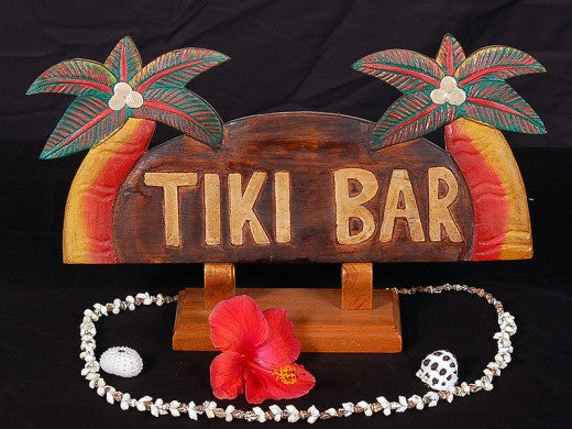 "Welcome Sign ""TIKI BAR "" with Palm Trees - Coastal Decor"