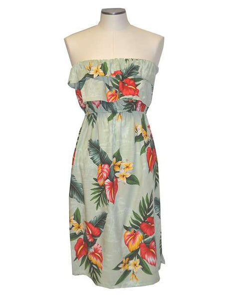 Short Strapless Dress - Anthurium Galore Ruffle Overlay