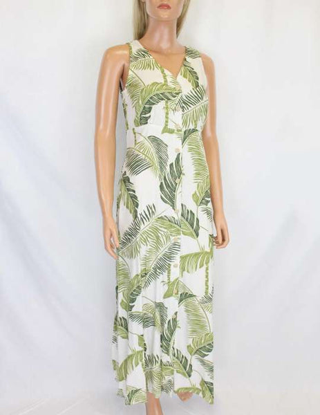 Cream Tropical Tree Tops Long Rayon Maxi Dress