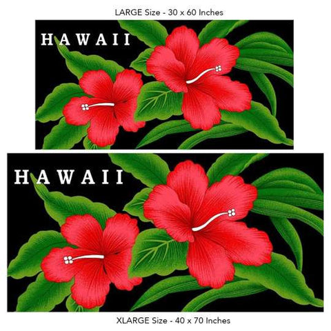 Hawaiian Beach Towel on Black - Red Hibiscus
