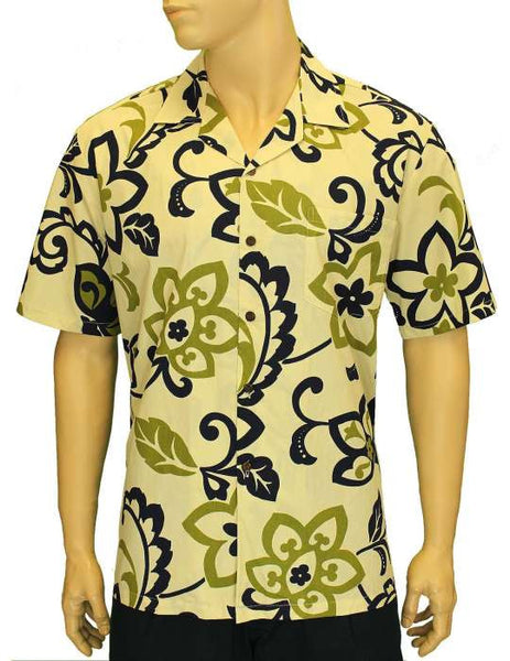 Men's Retro Cotton Aloha Hawaii Shirt - Cream - Black