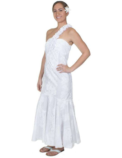 One Shoulder Hawaiian Wedding Dress - Hokeo May Lei