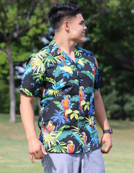 Resort Black Shirt With Parrots Paradise Print