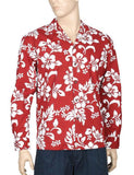 Island Hibiscus Long Sleeve Aloha Shirt Red