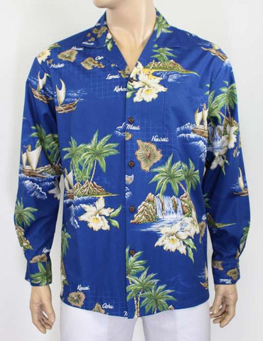 Hawaiian Islands Long Cotton Royal Blue Shirt