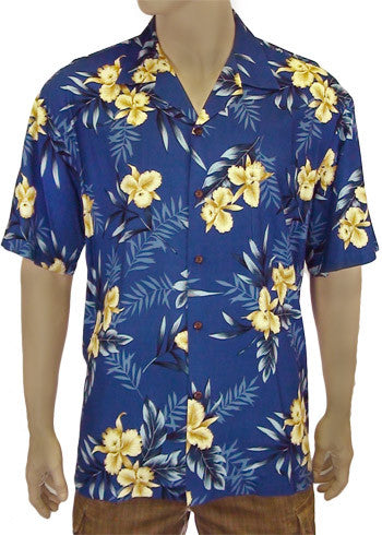 Hawaiian Men Shirt - Okalani in Blue and Red