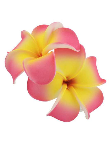 2 Pink Yellow Hawaiian Plumeria Flower Hair Clip