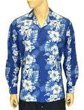 Long Sleeves Cotton Hawaiian Shirt Royal Blue - Haku Laape
